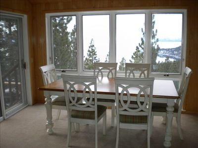 Sun room overlooking the lake - the perfect place to eat your meal! Room seats10