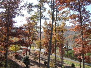 Murphy cabin photo - Another view off porch in fall