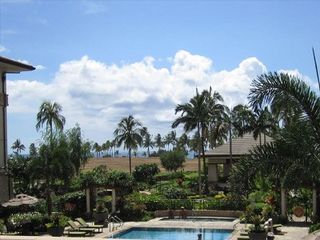 Kapolei condo photo - View of ocean, hot tub, and the Lagoon Pool from the lanai
