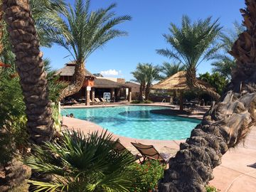 Needles house rental - gorgeous pool and bbq area with rec center, on site laundry, and gym
