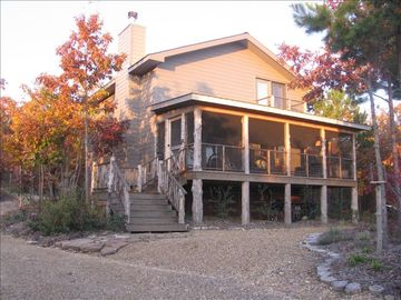 Mentone lodge rental - High Horse Lodge, with screen porch across front.