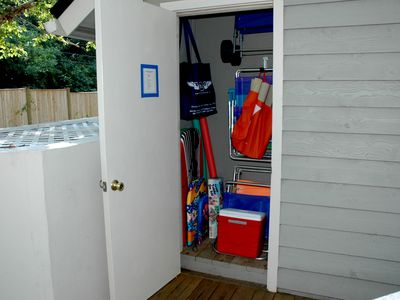 Beach Closet: 4 chairs, 12'x12' sun shelter, boogie boards, sand toys, cooler