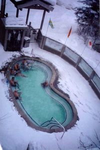 Apres ski time in the jacuzzi. A great way to end the day!