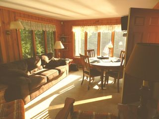 Moultonborough house photo - Sunroom w Queen Sleep Sofa for 2 Adults, Dining Table w 5 leafs to sit everyone.