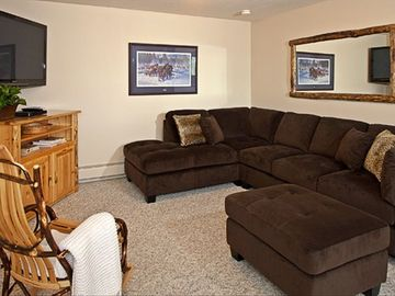 Entertainment room, fireplace, game table, Direct TV, DVD, dvds, games & cards