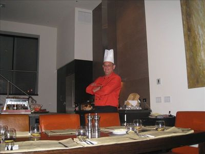 Chef Richard ready and able to prepare a special meal in fully equipped kitchen
