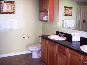 Master bath with double sinks and a stand up shower