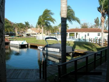 Palm Harbor condo rental - View from peaceful back patio of fresh water inlet