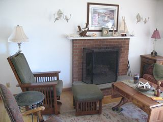 Old Lyme house photo - Upstairs Living room with Fireplace.