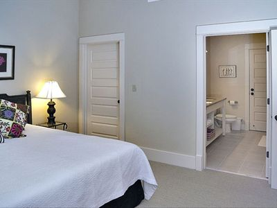 Guest bedroom with king bed & private Bath.  Double vanity; tub/shower combo.