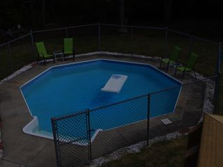 Mashpee house photo - Pool with locked fence in the back yard.