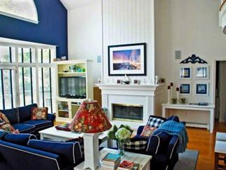Edgartown house photo - Living Room Features 2-Story Vaulted Ceiling & Fireplace