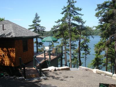 Cabin Approach from the Patio & Trail / Stairway