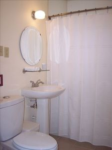Bathroom with green features, new pedestal sink, dual flush toilet.