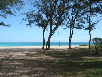 Large open spaces, 5 miles of white sand beach to explore, walk and swim.