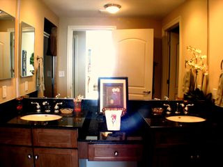Perdido Key condo photo - Master Bath-5th Flr See Gulf View in the mirror!Dual Sinks,Granite,Trav.Shower!