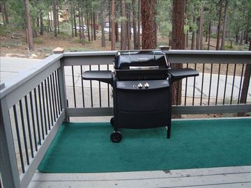 Gas BBQ on upper deck near hot tub with view of Heavenly Valley Ski area.
