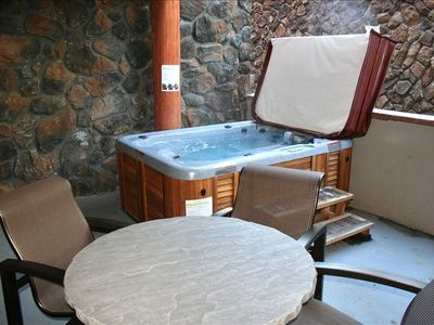 Private Hot Tub with comfy patio furniture