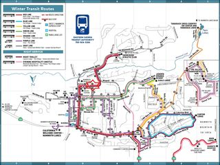 Mammoth Lakes townhome photo - Winter Transit Map, with the red star marking stop 5 for Woodlands