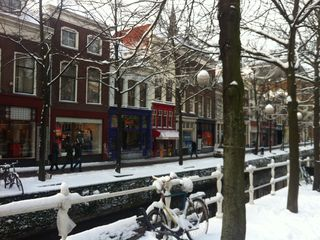 Delft house photo - January 2013 Snow in Delft. Soon ice scating on the canal in front.