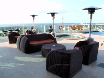 Infinity pool and hot tub on the 8th floor overlooking the bay.