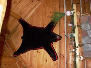 Mackinaw City cabin photo - Bear Rug over fire place