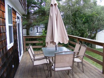 Scarborough Beach house rental - Deck with grill and additional seating.