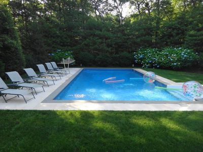 East Hampton house rental - Pool View from Living and Dining Rooms showing it's private and peaceful setting