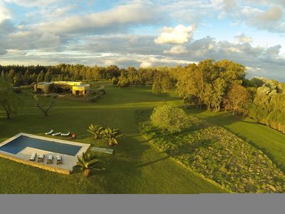 Aerial view of 4-acre property