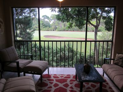Inviting lanai to enjoy coffee in the morning overlooking hole number 7.