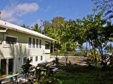 Hilo house rental - Ocean view from the back of the yard/property on a sunny Hilo day!