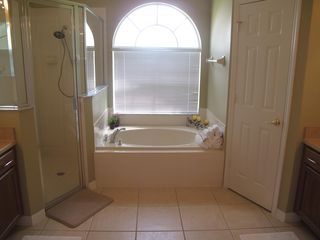 Orange Tree house photo - Master bath with huge shower, rainfall shower head and soaking tub.