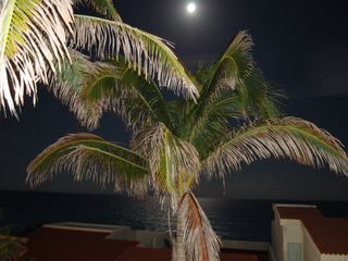 Cancun condo photo - Full Moon over the ocean