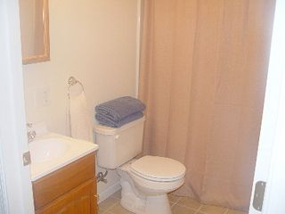 Lake Wallenpaupack house photo - Half bathroom at 2nd floor with tub/shower and vanity
