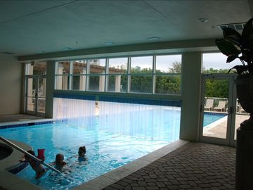 Enjoy the indoor outdoor heated pool and spa.