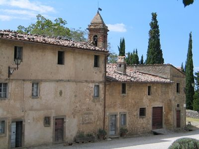 Vivo d'Orcia hamlet with romanic church in the background