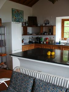 kitchen counter with island in foreground