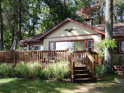 Fairview Lake house rental - Lake front view of house and deck