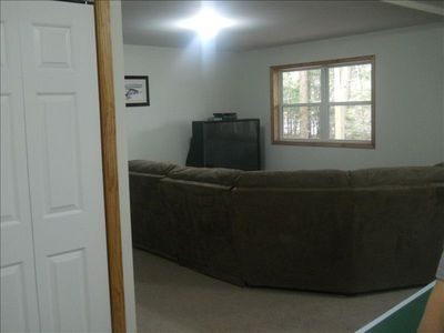 Blakeslee house rental - Large Rec Room with Lakeviews, Large sectional