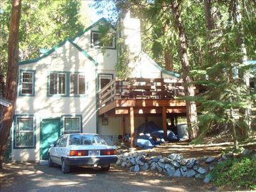 Strawberry cabin rental - View from the river of cabin exterior.