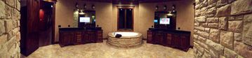 Master Bath, With flat screens behind the mirrors