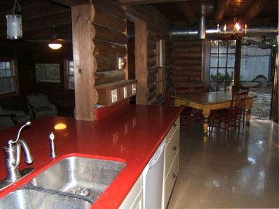 high end red silestone counter, kitchen has all you need to cook meals