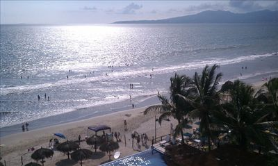 Nuevo Vallarta condo rental - Beach view from Master and patios; shallow, flat, sandy bottom, no undertow