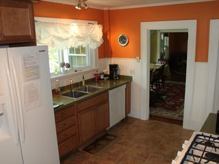 South Yarmouth bungalow photo - Kitchen with gas stove, microwave and dishwasher.