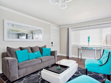 Dana Point house rental - Main entrance opens up to an open-concept living area. Spacious, bright, & chic.