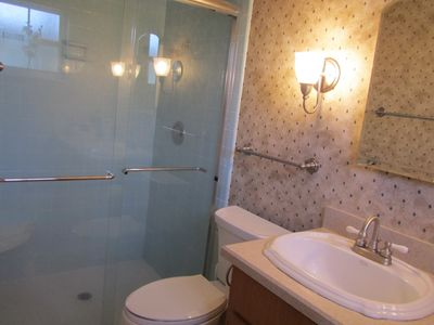 The Master Bathroom has been remodeled and has a large walkin shower