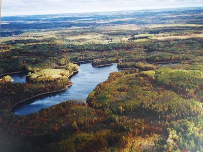 Aerial Photo of Finger Lake in the fall