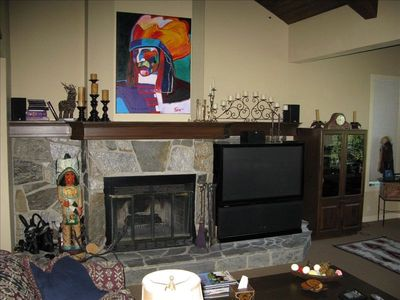 Wood Burning Fire Place & Surround Sound Entertainment System