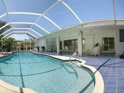 Huge resurfaced pool. One of biggest in Cape Coral. Electric heat. Warm. Private