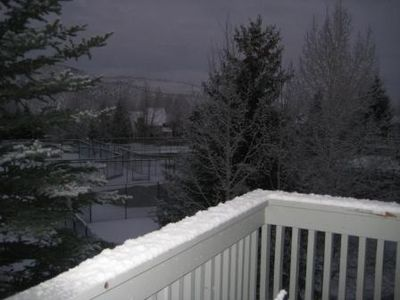 Snowy evening from deck.